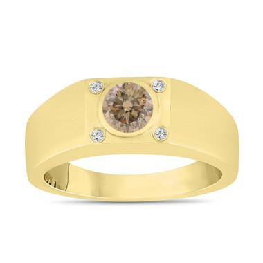 Champagne Brown Diamond Solitaire Mens Ring 14K Yellow Gold 0.55 Carat Handmade