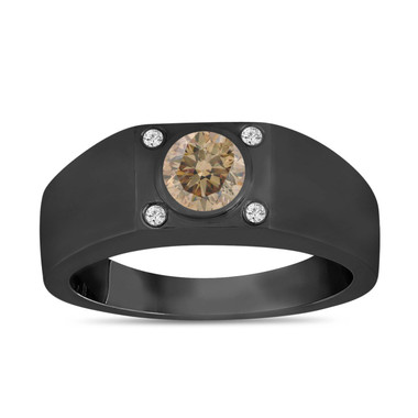 Champagne Brown Diamond Solitaire Mens Ring Vintage Style 14K Black Gold 0.55 Carat Handmade