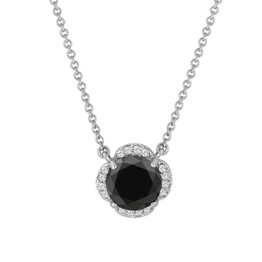 2.62 Carat Black Diamond Solitaire Clover Flower Pendant Necklace 14k White Gold Certified handmade