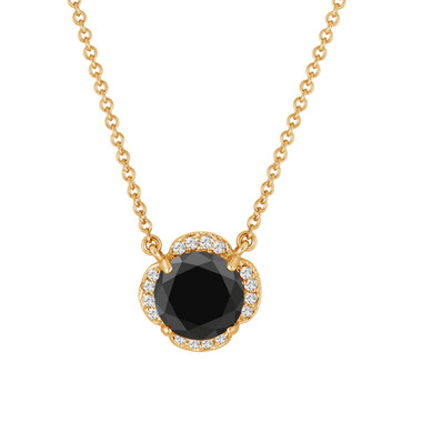 2.62 Carat Black Diamond Solitaire Clover Flower Pendant Necklace 14k Yellow Gold Certified handmade