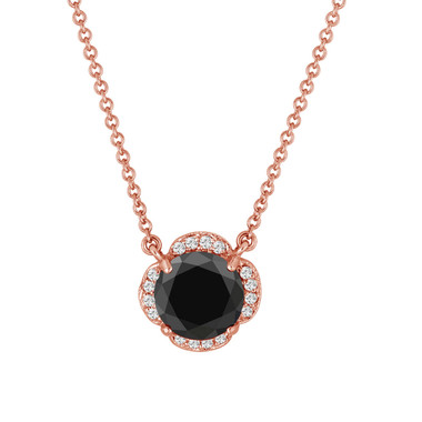 2.62 Carat Black Diamond Solitaire Clover Flower Pendant Necklace 14k Rose Gold Certified handmade