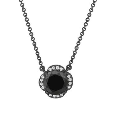 2.62 Carat Black Diamond Solitaire Clover Flower Pendant Necklace Vintage Style 14k Black Gold Certified handmade