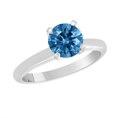 Fancy Blue Diamond Solitaire Engagement Ring 1.01 Carat 14K White Gold Certified Handmade