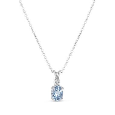 Oval Aquamarine & Diamond Solitaire Pendant Necklace 14K White Gold 1.27 Carat HandMade