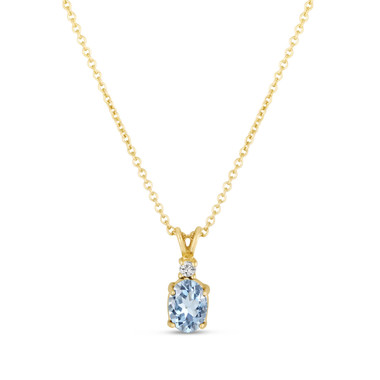 Oval Aquamarine & Diamond Solitaire Pendant Necklace 14K Yellow Gold 1.27 Carat HandMade