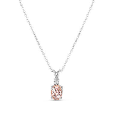 Oval Pink Morganite & Diamond Solitaire Pendant Necklace 14K White Gold 1.08 Carat HandMade