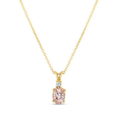 Oval Pink Morganite & Diamond Solitaire Pendant Necklace 14K Yellow Gold 1.08 Carat HandMade