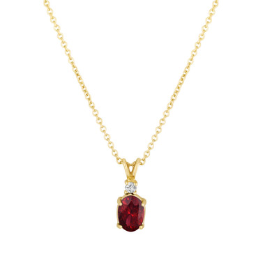 Oval Garnet & Diamond Solitaire Pendant Necklace 14K Yellow Gold 1.29 Carat HandMade