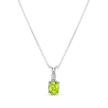 Oval Peridot & Diamond Solitaire Pendant Necklace 14K White Gold 1.12 Carat HandMade