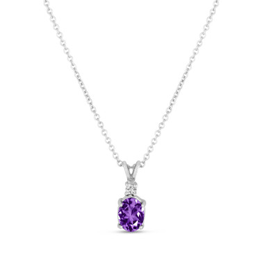Oval Amethyst & Diamond Solitaire Pendant Necklace 14K White Gold 1.08 Carat HandMade