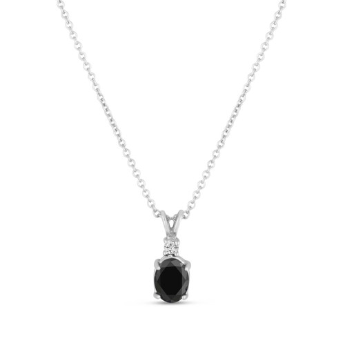Oval Black Diamond Solitaire Pendant Necklace 14K White Gold 1.04 Carat HandMade