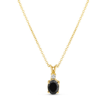 Oval Black Diamond Solitaire Pendant Necklace 14K Yellow Gold 1.04 Carat HandMade
