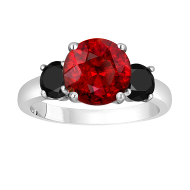 Garnet and Black Diamond Three-Stone Engagement Ring 14k White Gold 2.82 Carat Certified Unique