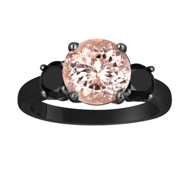 Pink Morganite and Black Diamond Three-Stone Engagement Ring 14k Black Gold Vintage Style 2.70 Carat Certified Unique