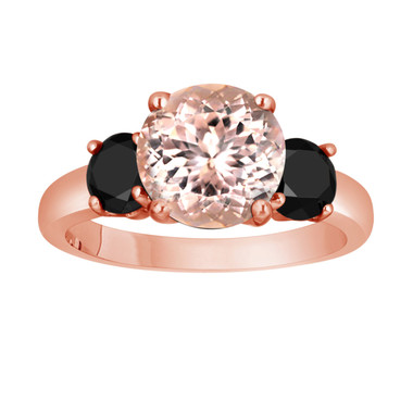 Pink Morganite and Black Diamond Three-Stone Engagement Ring 14k Rose Gold 2.70 Carat Certified Unique