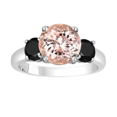 Pink Morganite and Black Diamond Three-Stone Engagement Ring 14k White Gold 2.70 Carat Certified Unique
