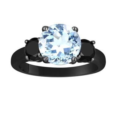 Aquamarine and Black Diamond Three-Stone Engagement Ring 14k Black Gold Vintage Style 2.60 Carat Certified Unique