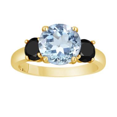 Aquamarine and Black Diamond Three-Stone Engagement Ring 14k Yellow Gold 2.60 Carat Certified Unique