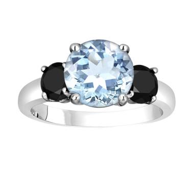 Aquamarine and Black Diamond Three-Stone Engagement Ring 14k White Gold 2.60 Carat Certified Unique