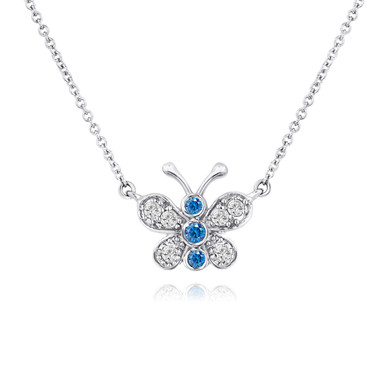 Blue and White Diamonds Butterfly Pendant Necklace 14K White Gold 0.33 Carat Pave Set Handmade