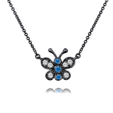 Blue and White Diamonds Butterfly Pendant Necklace 14K Black Gold Vintage Style 0.33 Carat Pave Set Handmade