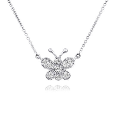 Diamond Butterfly Pendant Necklace 14K White Gold 0.33 Carat Pave Set Handmade
