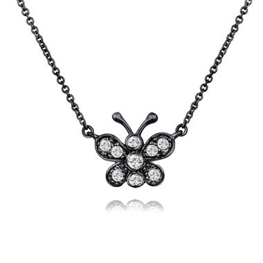 Diamond Butterfly Pendant Necklace 14K Black Gold Vintage Style 0.33 Carat Pave Set Handmade