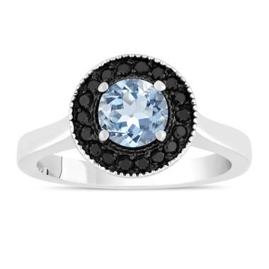 Aquamarine Engagement Ring 14K White Gold 0.95 Carat Certified Pave Set Halo Handmade Unique
