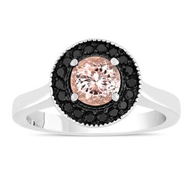Pink Peach Morganite Engagement Ring 14K White Gold 0.95 Carat Certified Pave Set Halo HandMade