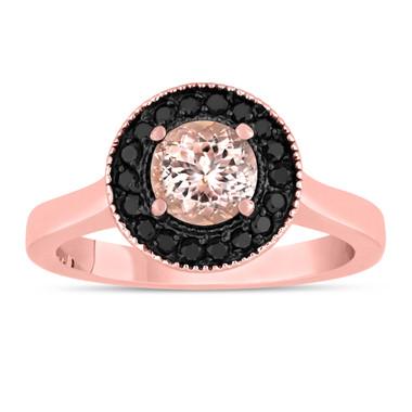 Pink Peach Morganite Engagement Ring 14K Rose Gold 0.95 Carat Certified Pave Set Halo HandMade