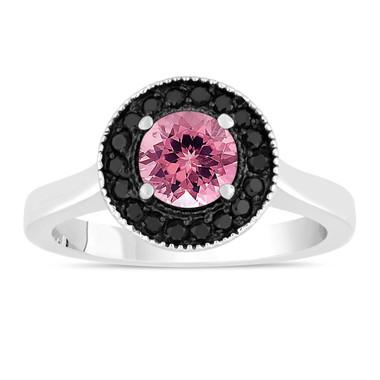 Pink Tourmaline And Black Diamonds Engagement Ring 14K White Gold 1.02 Carat Certified Pave Set Halo HandMade