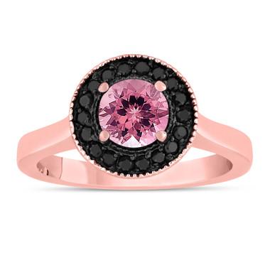 Pink Tourmaline Engagement Ring 14K Rose Gold 1.02 Carat Certified Pave Set Halo HandMade