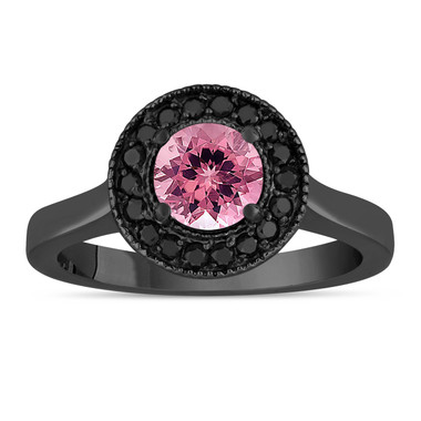 Pink Tourmaline Engagement Ring 14K Black Gold Vintage Style 1.02 Carat Certified Pave Set Halo HandMade