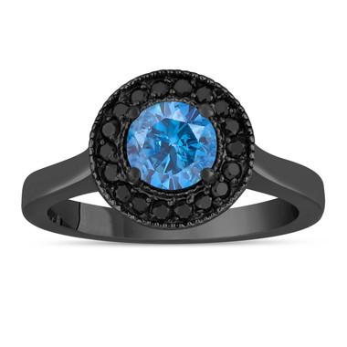 Blue Diamonds Engagement Ring 14K Black Gold Vintage Style 1.00 Carat Certified Pave Set Halo Handmade Unique