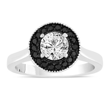 White & Black Diamond Engagement Ring 14K White Gold 0.90 Carat Certified Pave Set Halo Handmade Unique