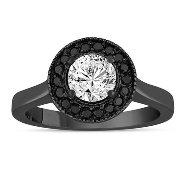 Diamond Engagement Ring 14K Black Gold Vintage Style 0.90 Carat Certified Pave Set Halo Handmade Unique