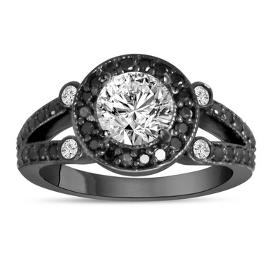 1.50 Carat White & Black Diamond Engagement Ring Vintage Style 14k Black Gold Unique Halo Handmade