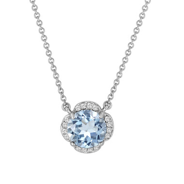 Aquamarine And Diamonds Solitaire Pendant Necklace Clover Flower 14k White Gold 1.82 Carat Certified Handmade