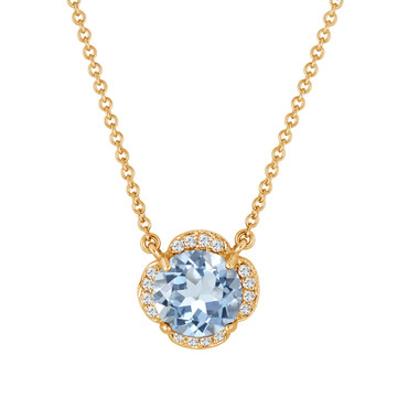Aquamarine And Diamonds Solitaire Pendant Necklace Clover Flower 14k Yellow Gold 1.82 Carat Certified Handmade
