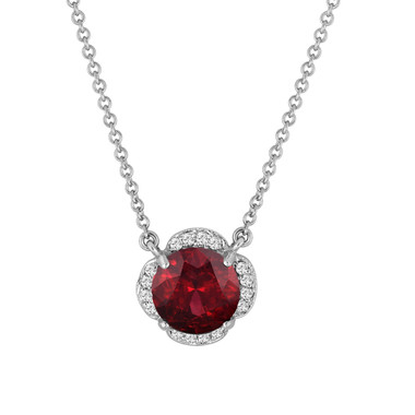 Garnet And Diamonds Solitaire Pendant Necklace Clover Flower 14k White Gold 1.97 Carat Certified Handmade