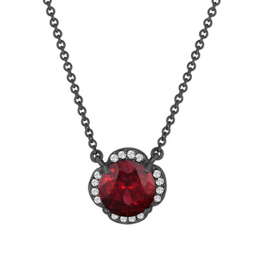 Garnet And Diamonds Solitaire Pendant Necklace Clover Flower 14k Black Gold Vintage Style 1.97 Carat Certified Handmade