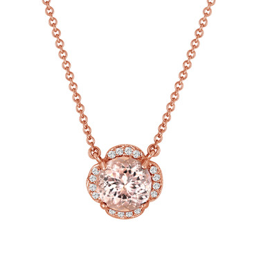 Pink Morganite And Diamonds Solitaire Pendant Necklace Clover Flower 14k Rose Gold 1.82 Carat Certified Handmade