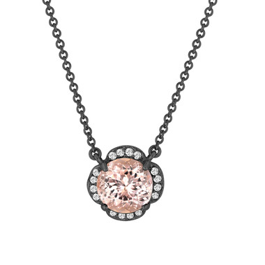 Pink Morganite And Diamonds Solitaire Pendant Necklace Clover Flower 14k Black Gold Vintage Style 1.82 Carat Certified Handmade