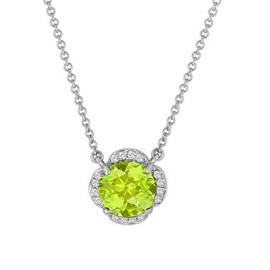 Peridot And Diamonds Solitaire Pendant Necklace Clover Flower 14k White Gold 1.87 Carat Certified Handmade