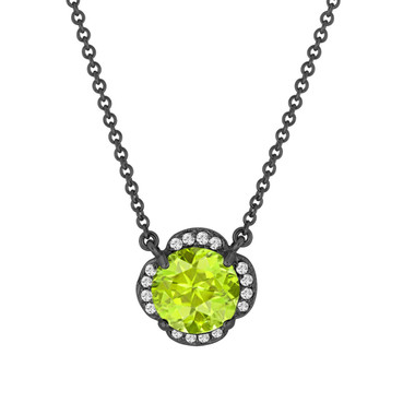 Peridot And Diamonds Solitaire Pendant Necklace Clover Flower 14k Black Gold Vintage Style 1.87 Carat Certified Handmade