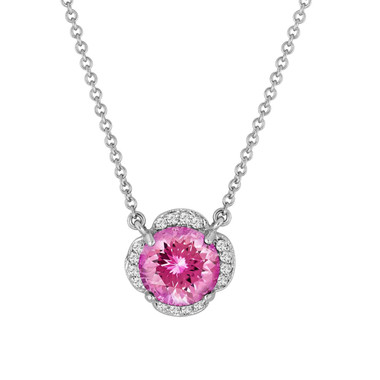 Pink Tourmaline And Diamonds Solitaire Pendant Necklace Clover Flower 14k White Gold 1.92 Carat Certified Handmade