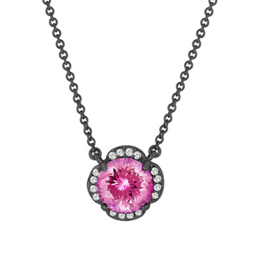 Pink Tourmaline And Diamonds Solitaire Pendant Necklace Clover Flower 14k Black Gold Vintage Style 1.92 Carat Certified Handmade