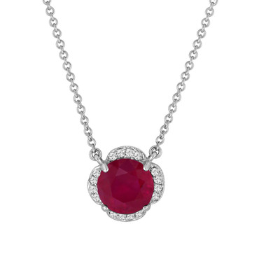 Ruby and Diamonds Solitaire Clover Flower Pendant Necklace 2.62 Carat 14k White Gold Certified handmade