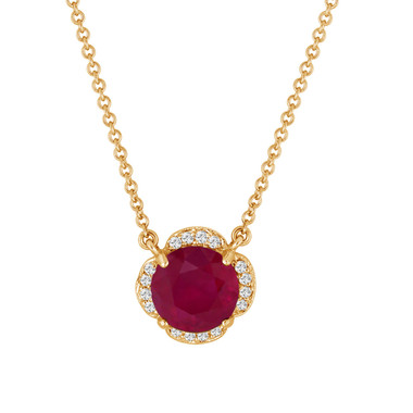 Ruby & Diamonds Solitaire Clover Flower Pendant Necklace 2.62 Carat 14k Yellow Gold Certified handmade