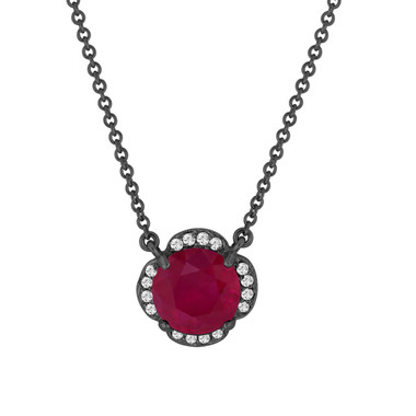 Ruby & Diamonds Solitaire Clover Flower Pendant Necklace 2.62 Carat 14k Black Gold Vintage Style Certified handmade